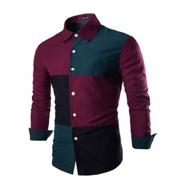 Color Blocking Checks Cotton Men Shirt