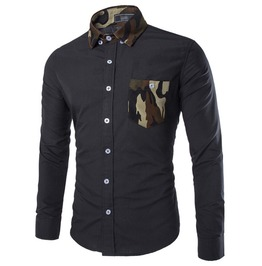 Camouflage Pocket Cotton Men Shirt