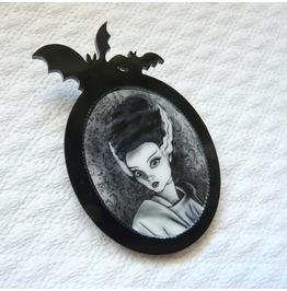 Bride Of Frankenstein Black Brooch, Gothic, Original Illustration