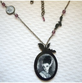 Bride Of Frankenstein Necklace, Gothic Jewelry, Bats, Original Illustration