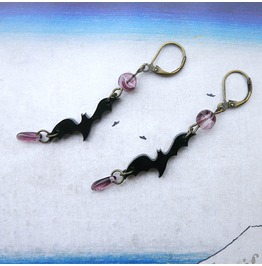 Bride Of Frankenstein Black Bats Earrings With Violet Czech Glass, Gothic