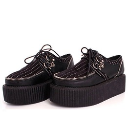 Punk Zipper Black Lace Up Women Platform Shoes