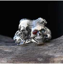 """Sansara"" Ring, Sterling Silver Skull Ring With Ruby. Made To Order"