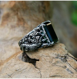Dragon Mens Sterling Silver Gemstone Ring With Green Quartz, Made To Order
