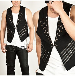 Striking Multi Stud Accent Slim Vest 55