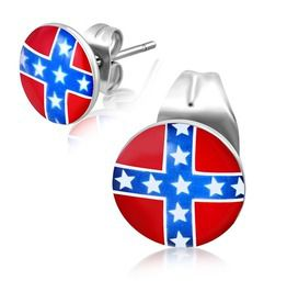 7mm stainless steel flag of confederate states america circle stud earrings earrings