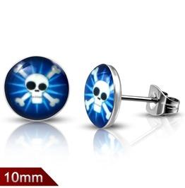 10mm Stainless Steel Blue Pirate Skull Crossbones Circle Stud Earrings Pair