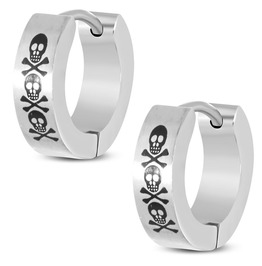 4mm Stainless Steel Skull Crossbones Laser Print Hoop Huggie Earrings Pair