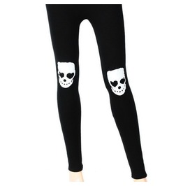 Awesome Black Thick Warm Black Leggings Have Fleece Inside With White Skull