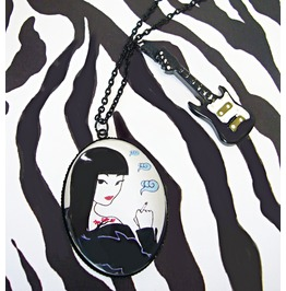 Punk Rock Necklace,Electric Guitar,High Heel,Sheena,Original Illustration