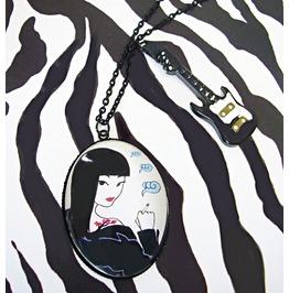 Punk Rock Necklace,Electric Guitar,High Heel,Sheena,Original Illustration