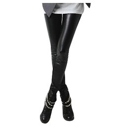 Hardcore! Jet Black Thick Faux Leather Pvc Look Leggings Fleece Inside