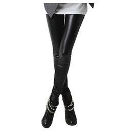 Hardcore! Jet Black Thick Faux Leather Pvc Look Leggings Fleece Inside