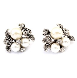 Pretty Vintage Silver Metal With Pearls Diamantes + Roses Stud Earrings