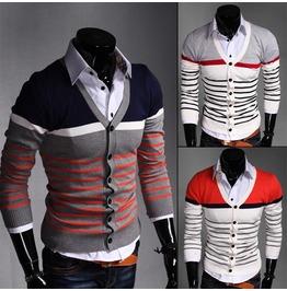 Mens Multi Color Striped Cardigan