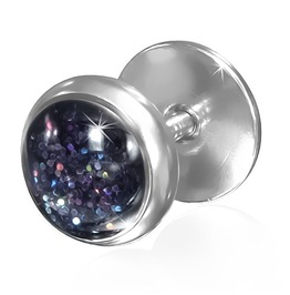 Stainless Steel Colorful Dust Glitter Fake Ear Plug Pair Qfx080