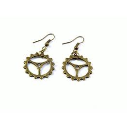 Bronze Steampunk Gear Earrings