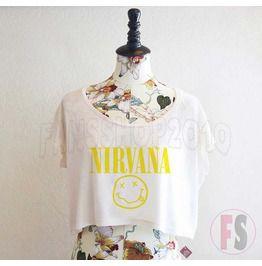 Nirvana Crop Tee, Crop Tops, Crop Shirt, Woman's Shirt
