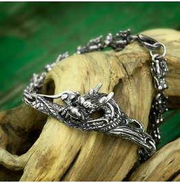 "Sterling Silver 925 Handmade Bracelet ""Dragon"". Totem Animal"