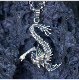 Ready To Ship, Dragon Silver Pendant Chimera