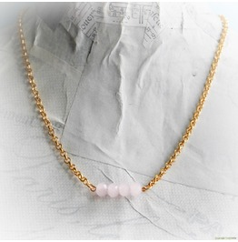 Pastel Pink Bar Gold Necklace