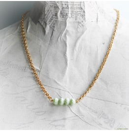 Pastel Mint Gemstone Bar Gold Necklace