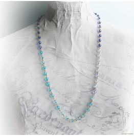 Ombre Blue Beaded Chain Gold Necklace