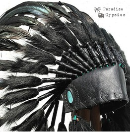 Stunning Turquoise Stone All Black Feather Headdress
