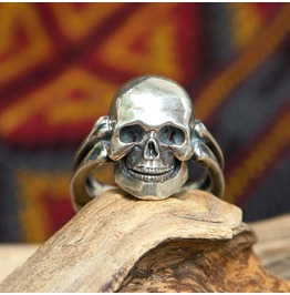 Men's Silver Skull Ring, Made To Order, Gothic Ring, Punk Ring, Rock Jewelr