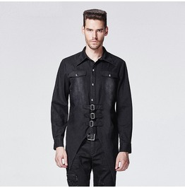 Punk Rave Asymmetrical Buckles Men Shirt B602