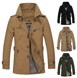 Mens Single Breasted Trench Coat