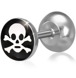 Stainless Steel 3 Tone Pirate Skull Crossbones Faux Fake Ear Plug Pair