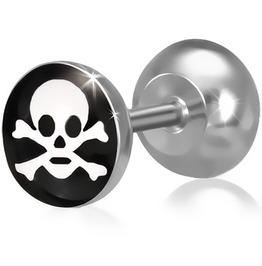 Stainless Steel 3 Tone Pirate Skull Crossbones Faux Fake Ear Plug Pair