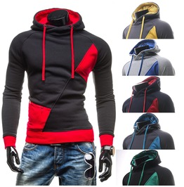 Contrast Color Zipper Pocket Men Hoodies