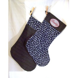 Set Of 2 Monogrammed Handmade Alternative Christmas Stockings Grey/Polka Dot
