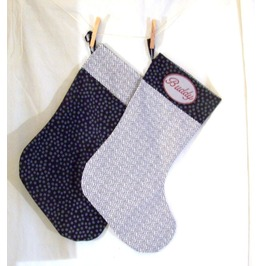 Set Of 2 Monogrammed Handmade Alternative Christmas Stockings Checks/Dots