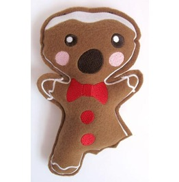 Embroidered Stuffed Bitten Gingerbreadman Hanging Christmas Decoration