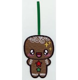 Embroidered Kawaii Gingerbreadman Hanging Christmas Decoration