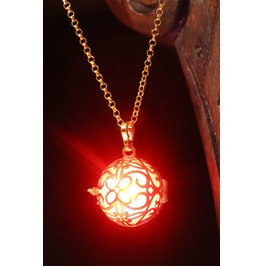 Fairy Punk Jewelry Necklace Golden Locket With Red Glowing Orb