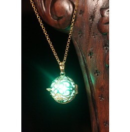 Pendant Necklace Golden Locket With Green Glowing Orb