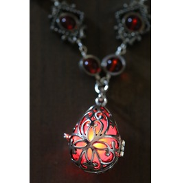 Neo Victorian Jewelry Necklace Drop Locket With Glowing Red Orb