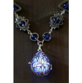 Neo Victorian Jewelry Necklace Drop Locket With Glowing Blue Orb