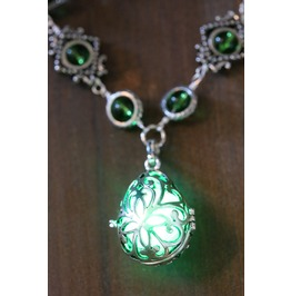 Neo Victorian Jewelry Necklace Drop Locket With Glowing Green Orb