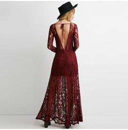 Vintage Backless Lace Long Sleeve Halterneck Maxi Dress
