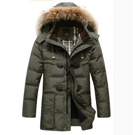 Men's Hooded Fur Parka Coat