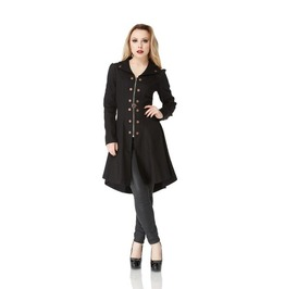 Jawbreaker Delphine Steampunk Clasps And Rivets Black Trench Coat