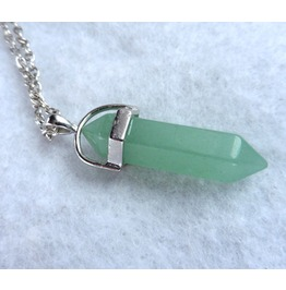 Opallion Aventurine Prism Necklace Green Gemstone Witch Wicca Boho Crystal