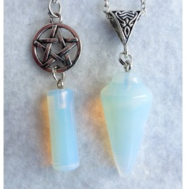 Double Pendulum Pentacle Wicca Necklace Opalite Pentagram Stone Quartz