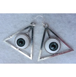 Blue Grey Providence Eyes Earrings, Esoteric, All Seeing Eye, Evil