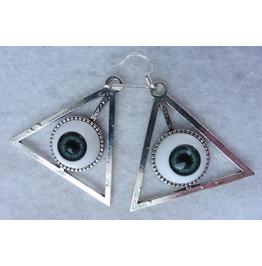 Blue Grey Providence Eyes Earrings, Esoteric, All Seeing Eye, Evil